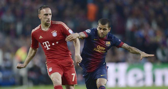 Dani Alves: Brazilian defender tangles with Franck Ribery