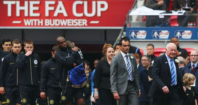 Dave Whelan: Leads his side out at Wembley with Roberto Mancini