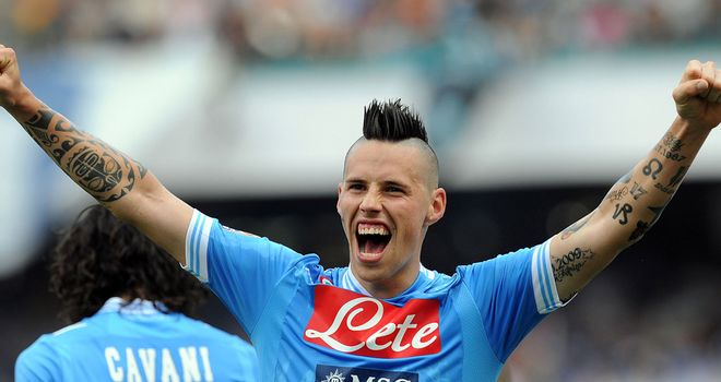 Marek Hamsik celebrates for Napoli