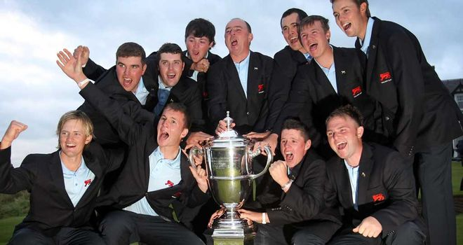 The victorious Great Britain and Ireland team after winning the Walker Cup in 2011