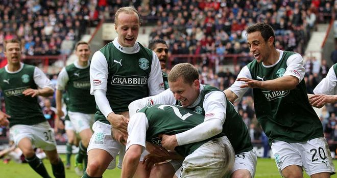 Hibs: Celebrate Ross Caldwell's late winner against Hearts