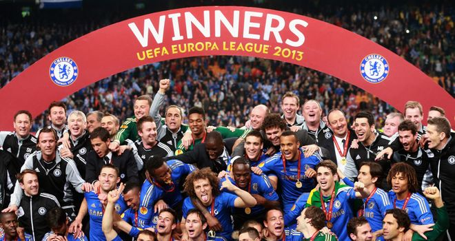 Chelsea celebrate their Europa League success this year