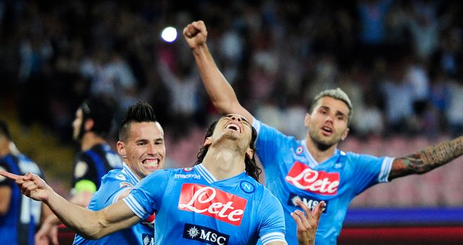 Edinson Cavani celebrates completing his hat-trick