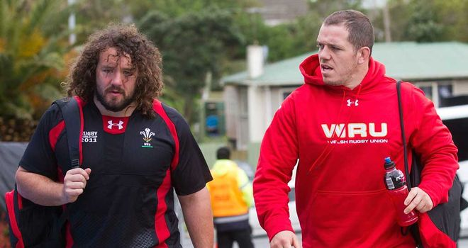 Adam Jones and Paul James prepare for action with Wales in 2011