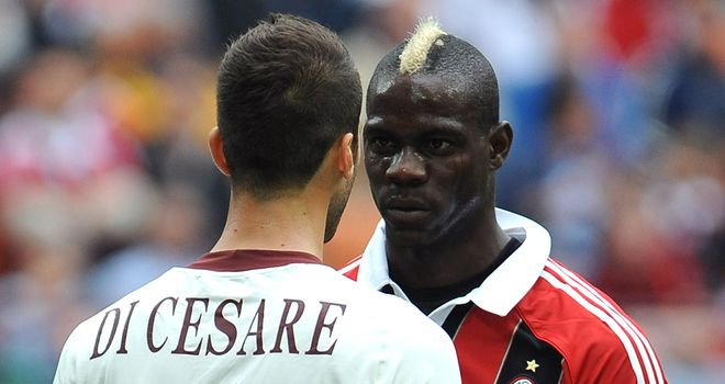 Valerio Di Cesare and Mario Balotelli confront each other