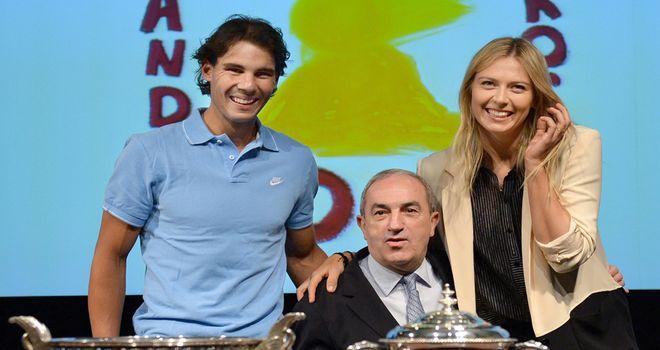 Maria Sharapova with men's defending champion Rafa Nadal