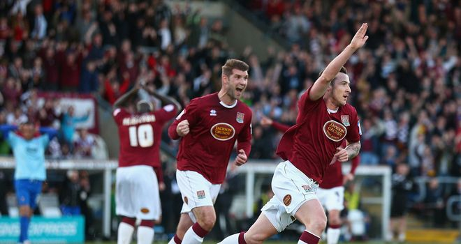 Roy O'Donovan: Celebrates goal for Northampton