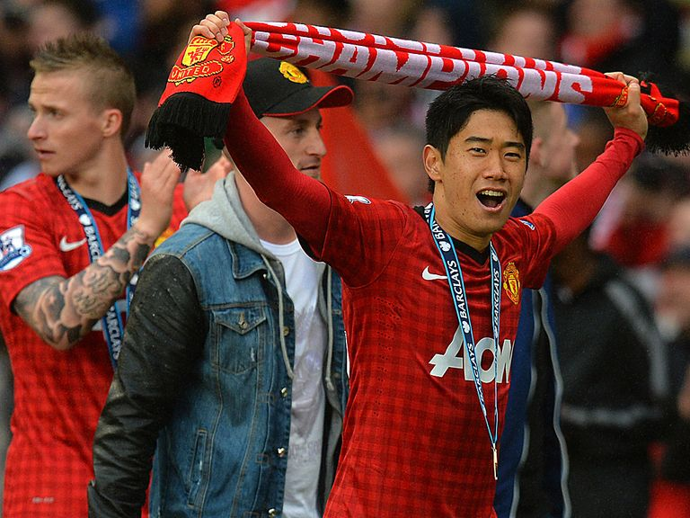 Shinji Kagawa celebrates Manchester United's title success.