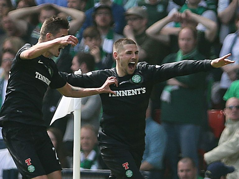 Gary Hooper: Celebrates his goals against Hibernian