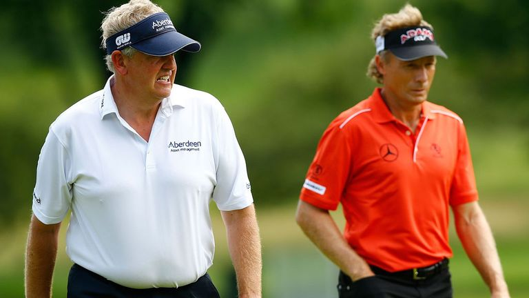 Colin Montgomerie (l) with Bernhard Langer during the opening round of the Senior Players Championship in Pittsburgh