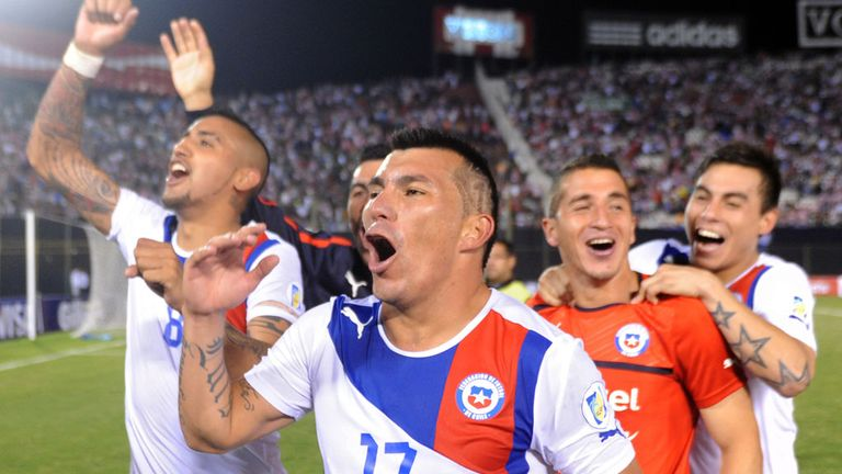 Chile: Celebrate their 2-1 victory over Paraguay
