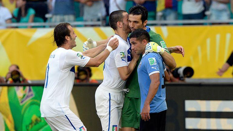 Gianluigi Buffon: Celebrates with team-mates - and consoles Gargano
