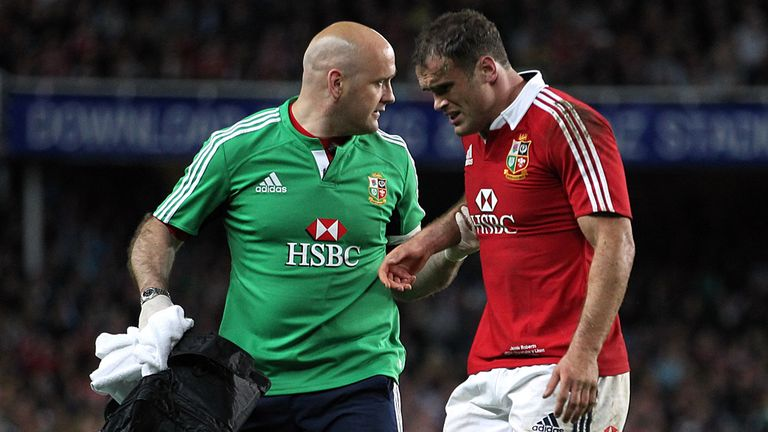 Jamie Roberts was forced off with an injury late in the second half