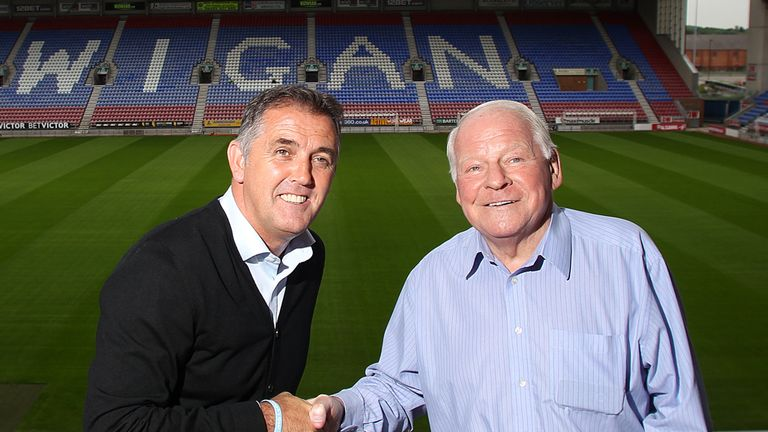 Owen Coyle and Dave Whelan at the start of the Scotsman's tenure