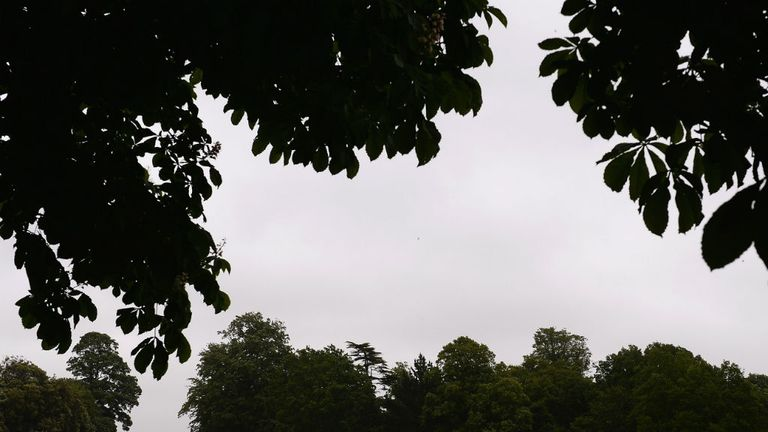 Rain stopped play: The gloomy scene at Arundel Castle
