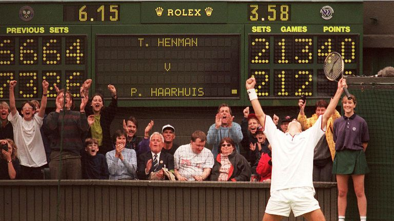 Tim Henman was involved in a five-set epic on 'Super Sunday'