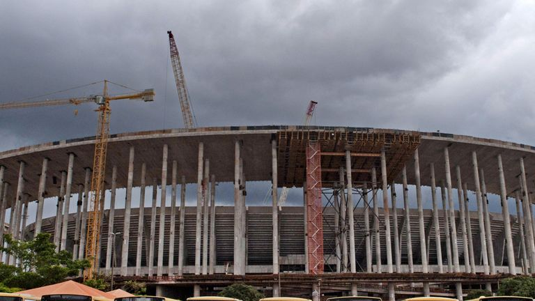 The Estadio Nacional in Brasilia pictured in December 2012 before renovation work was completed