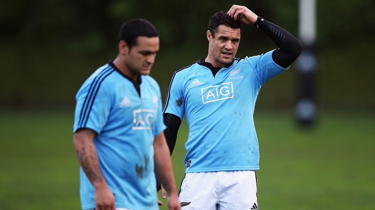 Piri Weepu (left) and Dan Carter: reunited in the halves for New Zealand