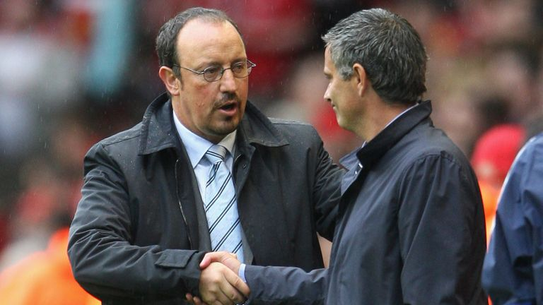 Rafael Benitez: Shakes hands Jose Mourinho after a previous meeting