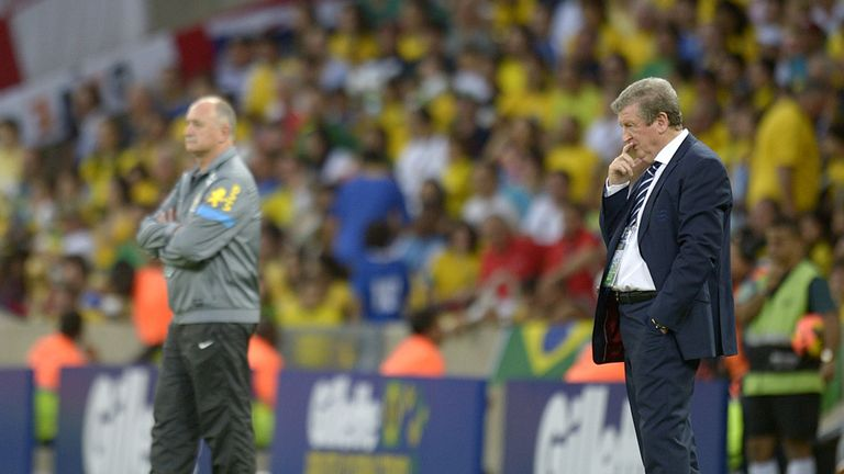 Roy Hodgson: Watches on at the Maracana alongside Luiz Felipe Scolari