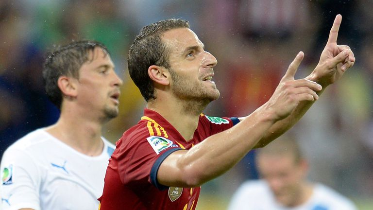 Roberto Soldado: Celebrates after scoring second goal in Spain's 2-1 win