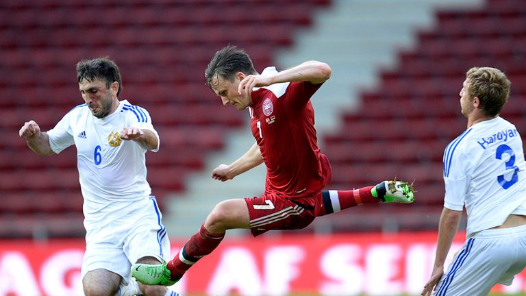 Denmark's William Kvist in action