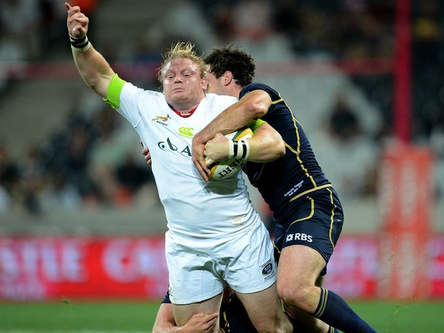 South Africa's Adriaan Strauss is tackled