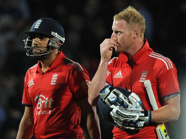 England's Ravi Bopara and Ben Stokes after falling to defeat.