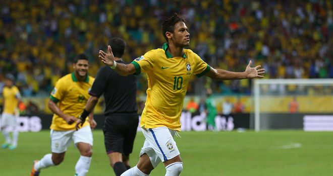 Neymar: Celebrates his goal against Italy