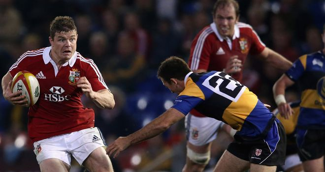 Brian O'Driscoll skips past Dale Ahwang during the Lions 64-0 win