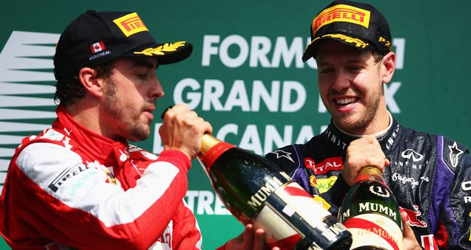 Fernando Alonso and Sebastian Vettel on the podium in Canada