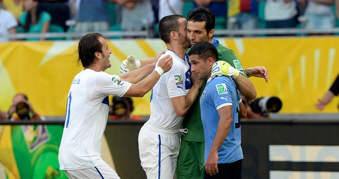Gianluigi Buffon: Celebrates with team-mates - and consoles Gargano