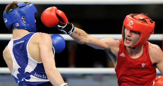 Andrew Selby lands a punch on Michael Conlan during their European Amateur Championships final