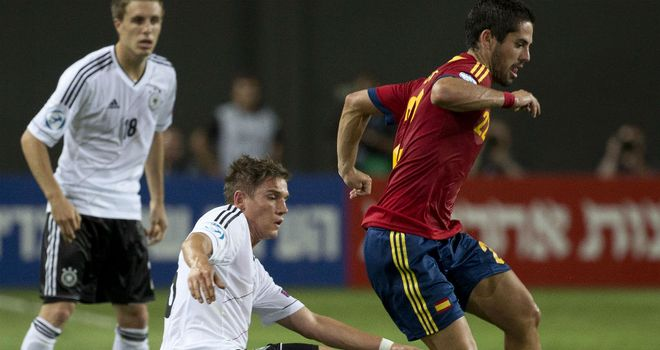Isco: Skips away from Oliver Sorg during Spain's win over Germany