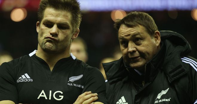Richie McCaw and Steve Hansen at Twickenham last autumn