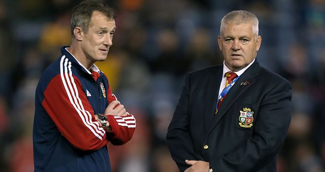 Rob Howley speaks to Warren Gatland following the Lions' win over Combined Country XV