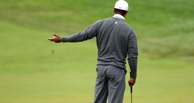 Tiger Woods bogeys the 12th hole on his return to Merion on Friday morning