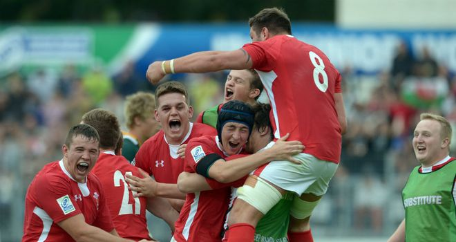 Wales U20s celebrate beaing South Africa