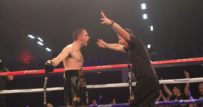 Paul Smith celebrates victory in rematch against Tony Dodson (credit: Lawrence Lustig)