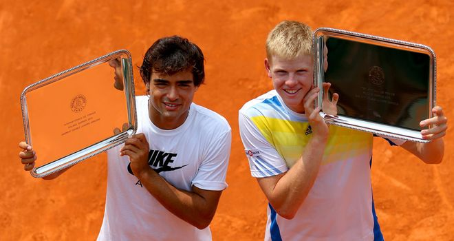 Kyle Edmund (right) and Frederico Ferreira Silva celebrate victory