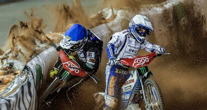 Tai Woffinden and Nicki Pedersen in a previous collision in Sweden