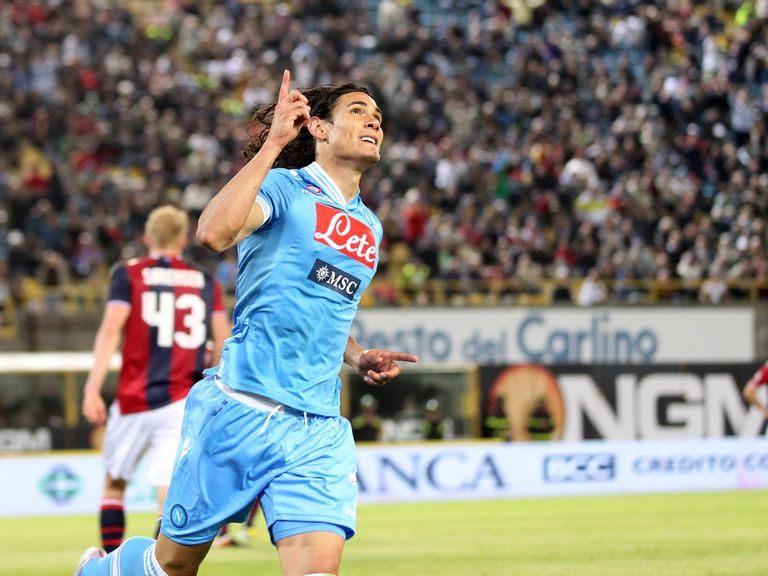 Edinson Cavani: Celebrates scoring for Napoli against Bologna