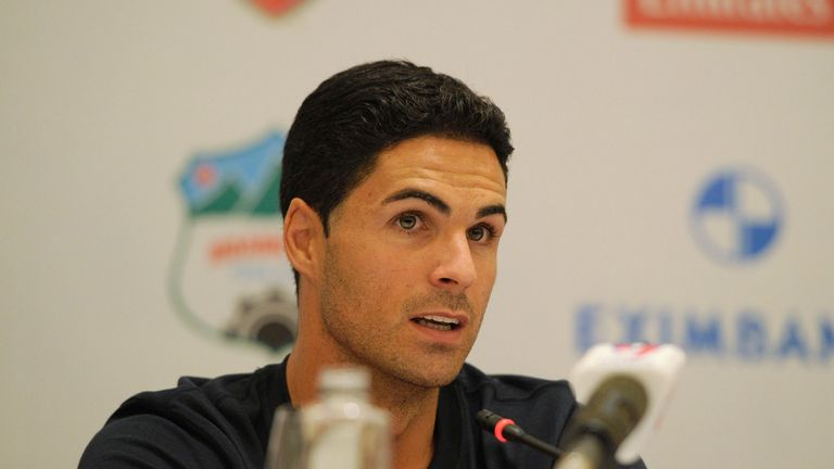 Mikel Arteta: Speaks to the media in Hanoi