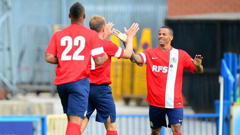 DJ Campbell: Celebrates goal at Rochdale