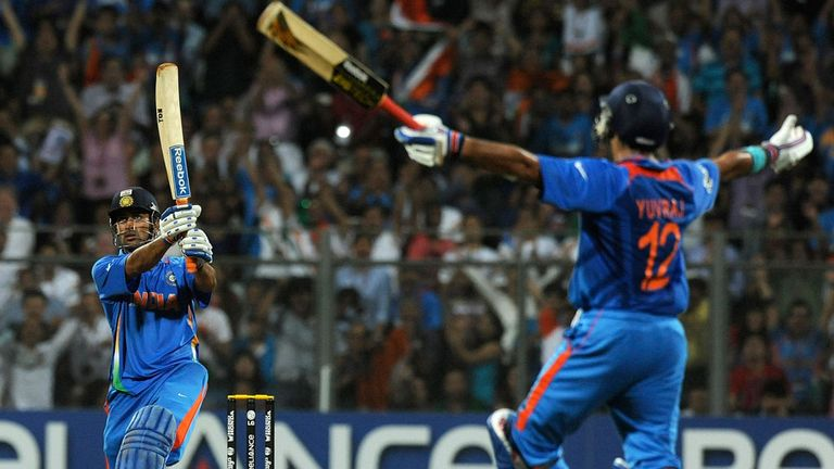 Dhoni hits  a six to win the 2011 World Cup for India