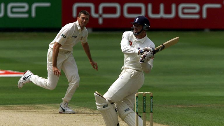 Dominic Cork gives Glen McGrath some tap during the second Ashes Test at Lord's in 2001