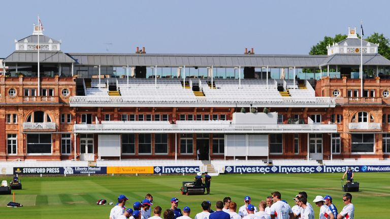 The squad gathered at the Home of Cricket in bright sunshine...