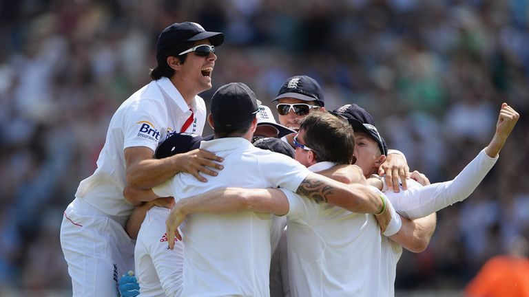 England celebrate victory at Trent Bridge