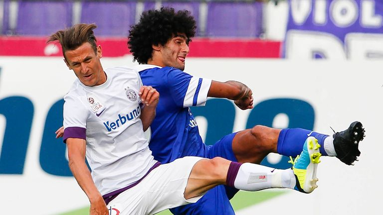 Marouane Fellaini: In action for Everton at Austria Vienna on Sunday