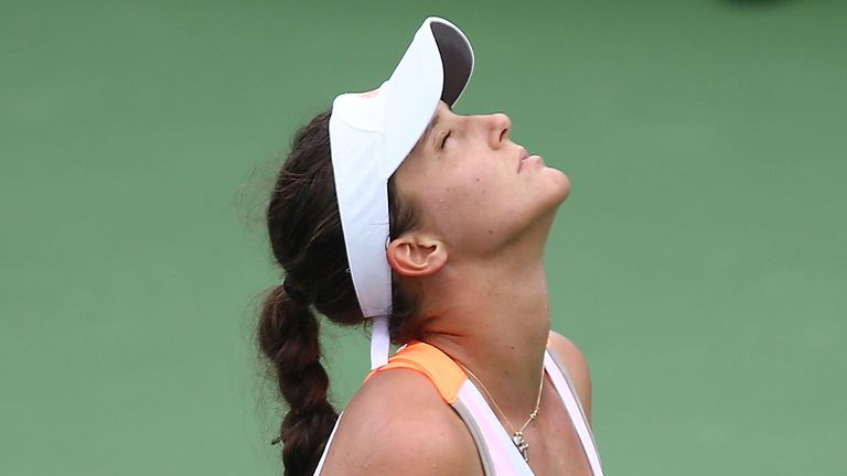Laura Robson reacts to another lost point in her defeat to Petra Kvitova